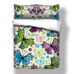 Image 4 - Wongsbedding Purple Butterfly Duvet Cover Bedding Set Animal Bedclothes Twin Full Queen King Size 3PCS