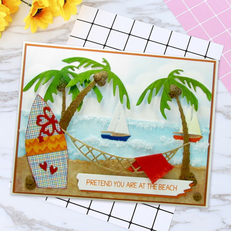 New Coconut tree Carbon steel Cutting Dies Stencil Craft for DIY Creative Scrapbook Cut Stamps Embossing Paper Hand