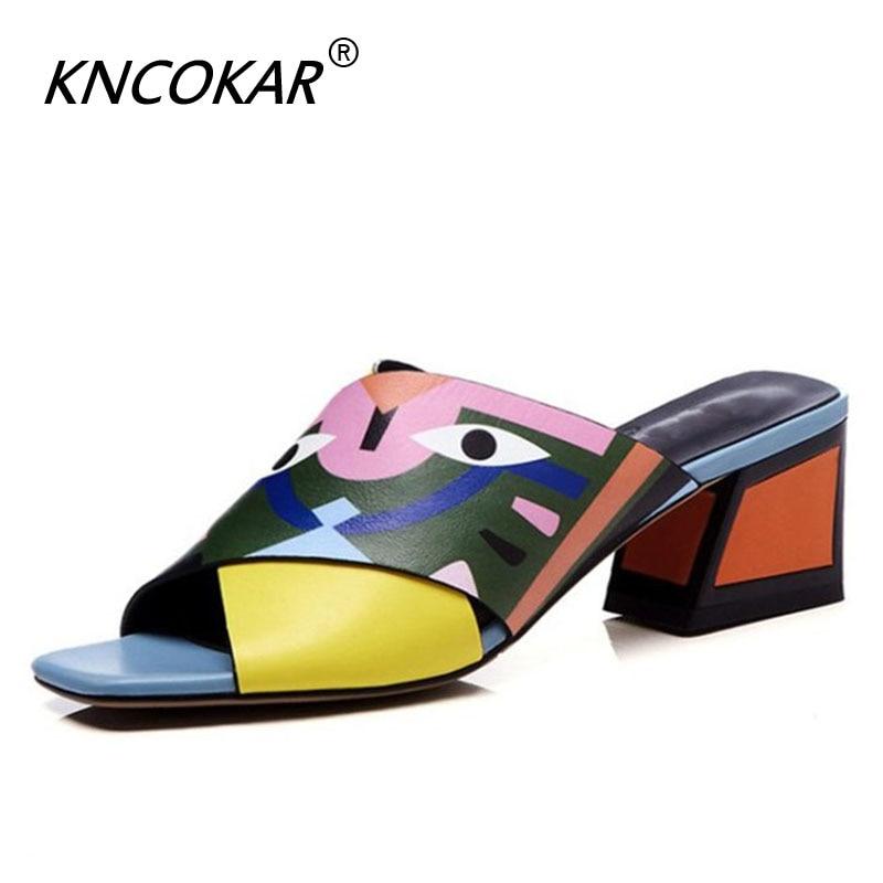 Spring Women Pumps Fashion Shoes Genuine Leather Square Toe 5 5 Cm Strange Style Heels Women