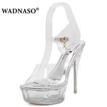 WADNASO Shoes Woman New 2019 Summer High heels 14cm Thin Heels Women Pumps Transparent Crystal Sandalia feminina Plus 35-43