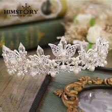 Elagance Pearl White Butterfly Clear Crystal Hair Crown Wedding Bridal Ornaments Tiara Quinceanara Headdress Accessory
