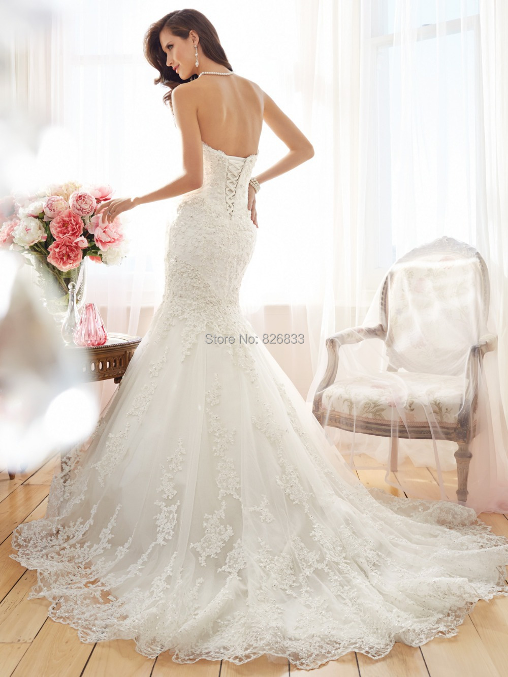 7ef214129f Romantic Style Appliques Sweetheart Ivory Lace Mermaid Wedding Dresses  Corset Bridal Gowns 2015 Hot Sale-in Wedding Dresses from Weddings   Events  on ...