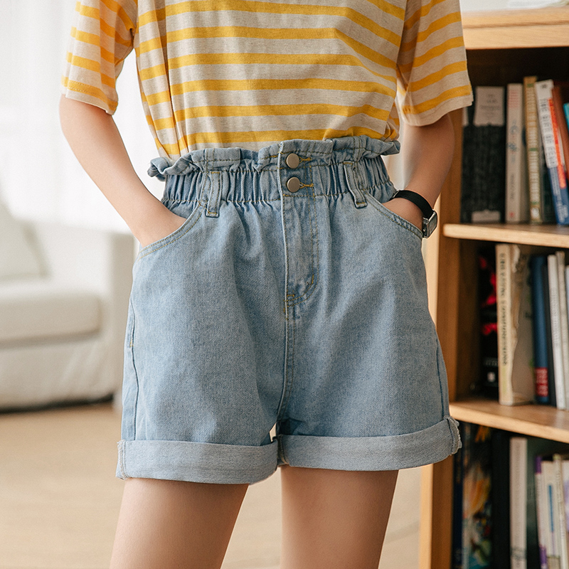 Shorts Women 2019 Summer Oversized Ladies Elastic Waist Short Jeans Button Fly Casual Plus Size Cotton High Waist Denim Shorts