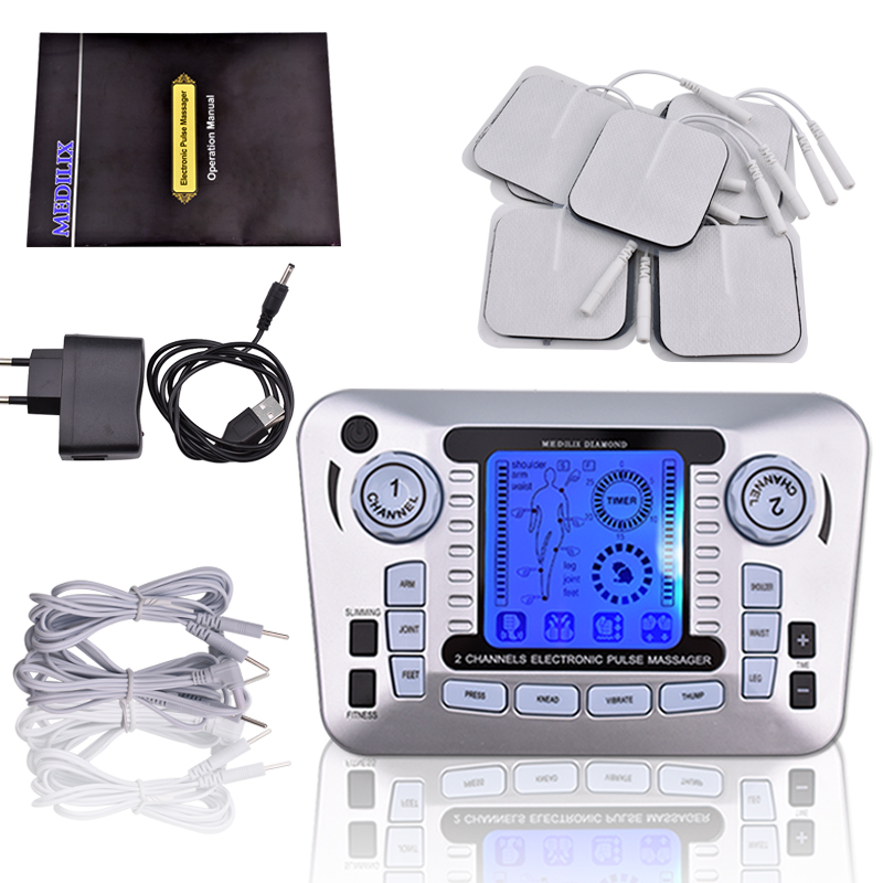 Electrical Muscle Stimulator Body Relax Therapy Massage Device Electric Pulse Tens Acupuncture Digital Meridian Massager 10 Pads electrical muscle stimulator body relax therapy massage device electric pulse tens acupuncture digital meridian massager 10 pads
