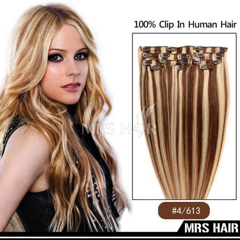 Free Shipping Indian Remy Clip in Human Hair Extensions P4/613 Dark Brown Mix Light Blonde Color 14″ 16″ 18″ 20″ 7pcs/set