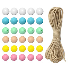30pcs 12mm Colorful Round Silicone Loose Teether Bead 5m String for Baby DIY Unfinished Chewable Teething Rattle Set Toy