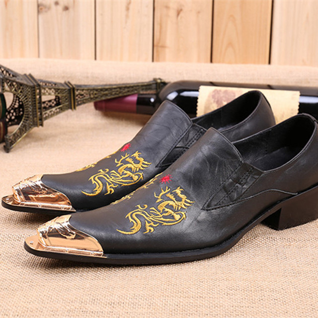 Choudory Dragon embroidery handmade men leather shoes men loafers wedding  and party shoes metal tip men flats size 38-46 US12 87c402a177af