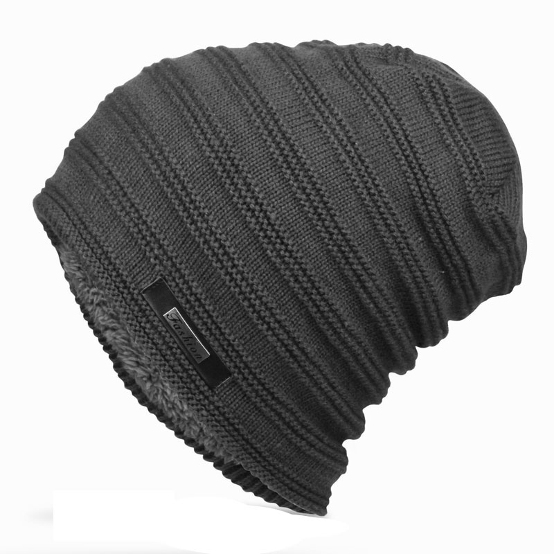 Mens Striped Knitted Winter Hats Oversized Long Baggy Beanie Fleece Lined Skully Cap Black Gray Navy Dark Red In Stock