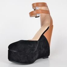 Fashion Black Dress Shoes Wedges Sweet Soft Leather Women High Heel Platform Sandals Closed Toe Shoes Women High Heel Plus Size