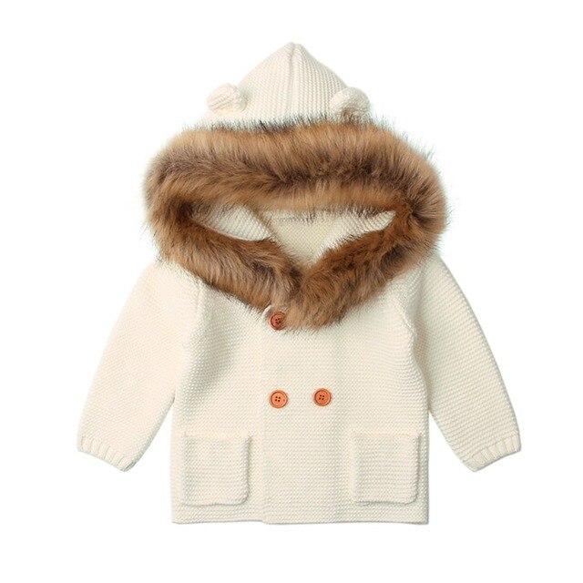 Baby Boy Knitting Cardigan 2019 Winter Warm Newborn Infant Sweaters Fashion Long Sleeve Hooded Coat Jacket Kids Clothing Outfits 4