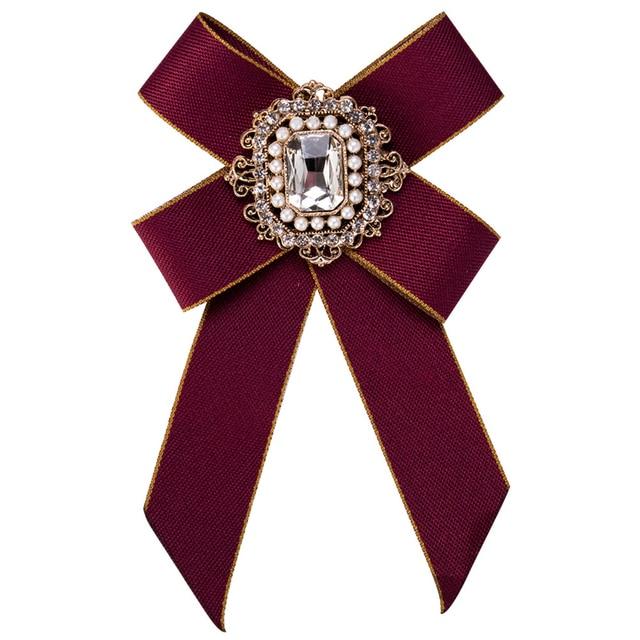 39d7911eee9 Vintage Women Brooch Big Ribbon Bowknot Shirt Dress Bow Tie Lace Collar  Brooch Pins Accessories Fashion