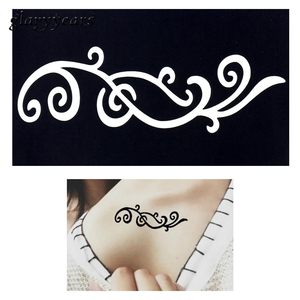 mujeres clavícula flor del tatuaje dibujo g52 la aerógrafo arte Cuerpo para 1 tatuaje Henna Encaje plantilla cintura la de unid pequeña pintura indio con gWWq6TZ