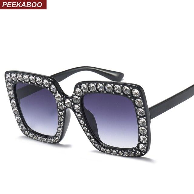 cb5eee02e4 Peekaboo rhinestone sun glasses for women luxury brand black pink oversized  sunglasses square frame big uv400