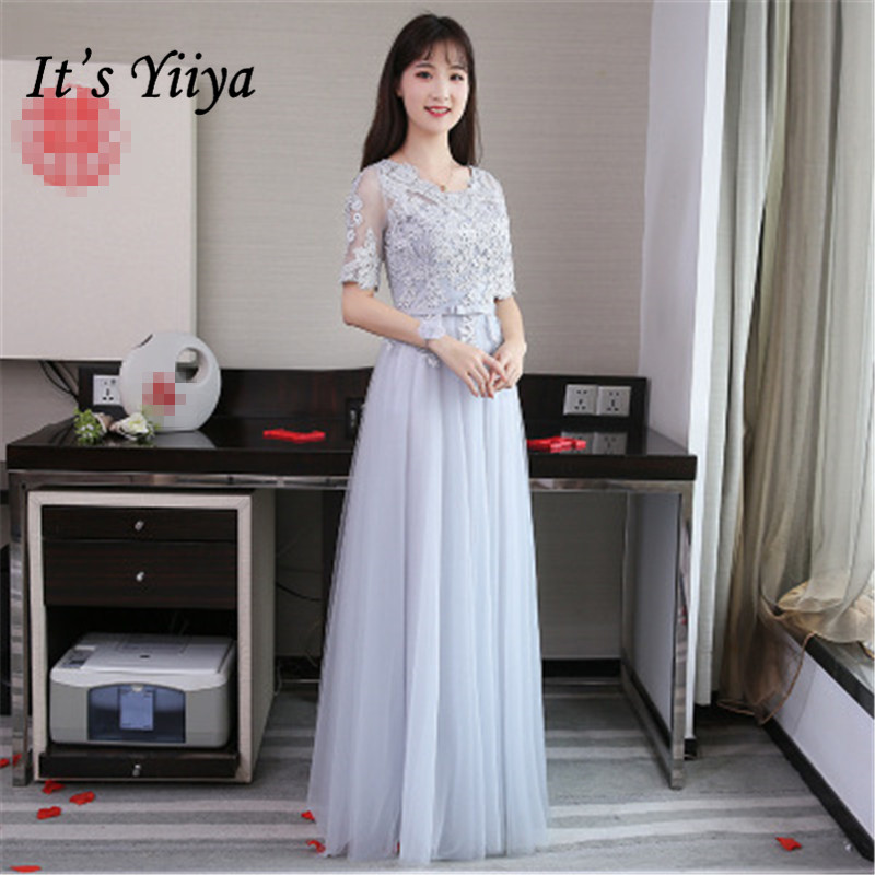 It's YiiYa Fashion Lace Pure Color   Bridesmaid     Dresses   Elegant Back Lace Up A-line Floor-length   Dress   B027