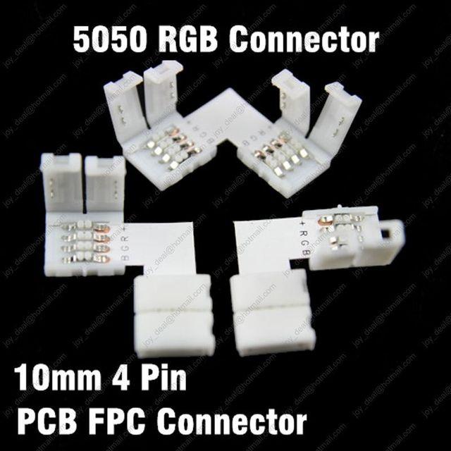 10 pièces L forme 10mm 4PIN séparateur rapide Angle droit connecteur d'angle 2 conducteur pour 5050 RGB bande LED couleur pas de soudure