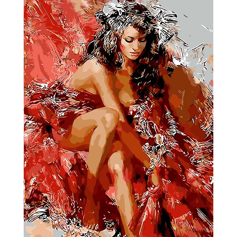 Sexy Red Woman Hand Made Paint High Quality Canvas Beautiful Painting By Numbers Surprise Gift Great Accomplishment