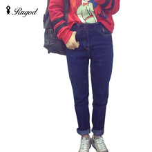 2017 Весной и Осенью Новые Джинсы Женщин Высокого ковбой шаровары Старинные Моды Полная длина свободные ковбойские штаны Плюс Размер