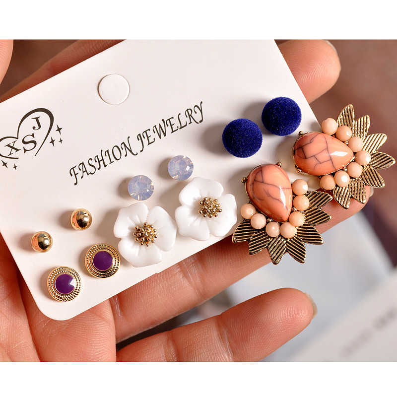 New fashion women jewelry wholesale girls birthday party flower pearl ear stud mix and match pretty 6pair /set earrings gift
