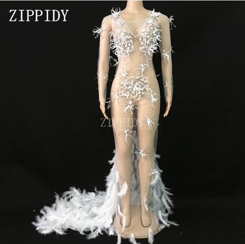ファッション · メッシュクリスタルフェザー列車の女性のイブニングパーティー視点豪華なドレス祝う  グループ上の レディース衣服 からの ドレス の中 1