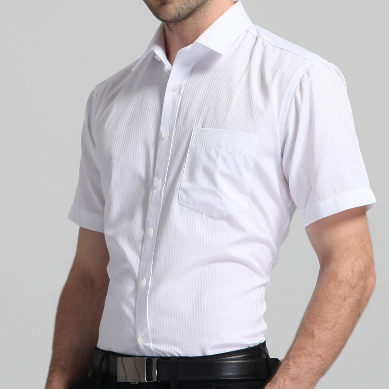 Men's Regular-fit Summer Short Sleeve Solid Classic Shirt Single Patch Pocket Formal Business Work Office Basic Dress Shirts 3