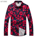 2017 spring 2016 new autumn high quality floral shirts mens plus size 3XL 4XL 5XL flowers print shirts men fashion shirt for men