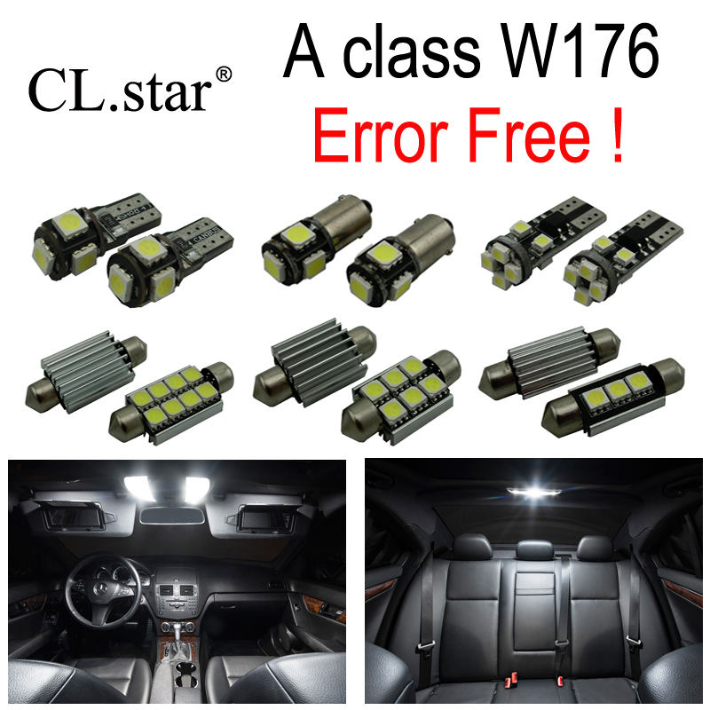 19pcs LED bulb interior light Kit For Mercedes For Mercedes-Benz A class W176 A160 A180 A200 A220 A260 A250 A45 AMG (2013+) zhaoyanhua car floor mats for mercedes benz w169 w176 a class 150 160 170 180 200 220 250 260 car styling carpet liners 2004