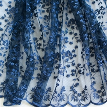 Navy Blue Embroidered Tulle Lace Fabric Wedding Dress Organza Bridal Costumes 47 inches Wide