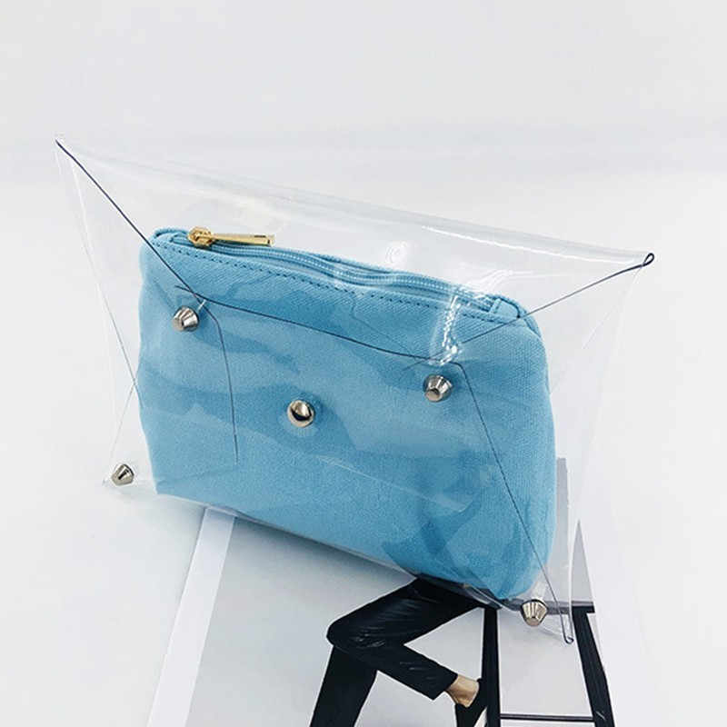 Jelly Bag Transparent Envelope-Bag Rivet Luxury Handbags Designer Women Sac A New Pvc