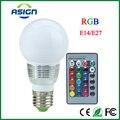 1 Pcs E27 E14 Lâmpada LED RGB + IR Controle Remoto 16 cores AC100-240V 5 W LED RGB Spot light pode ser escurecido RGB iluminação Do Feriado magia