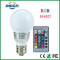 1 Pcs E27 E14 LED RGB Bulb + IR Remote Control 16 colors AC100-240V 5W LED RGB Spot light dimmable magic Holiday RGB lighting