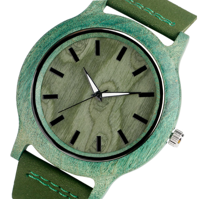 Creative Men Quartz Watches Green Handmade Nature Bamboo Wood Wristwatch Male Literary Style Gift with Leather Strap spring fecoration wood watches handmade green genuine leather band strap men women wristwatch bamboo sport wooden bangle quartz