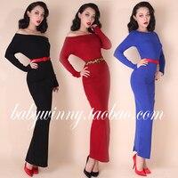 Vintage Saray 2015 Sonbahar Yeni Kadın Elbise Kış Kazak Artı Boyutu Ofis Kırmızı Elbise Casual Ucuz Kalem Elbise Ücretsiz Kargo