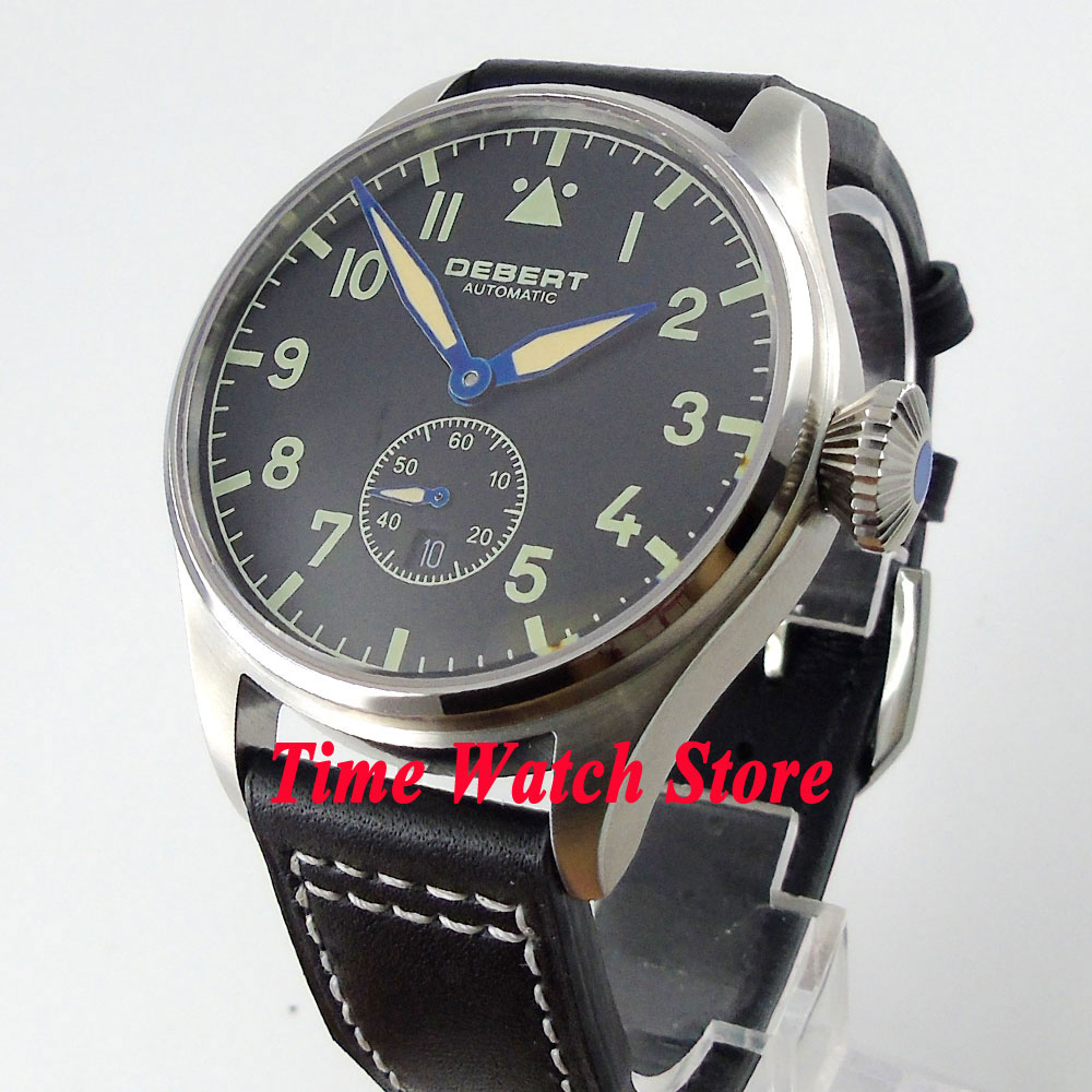 DEBERT 42mm black dial date luminous hands sapphire glass 5ATM Automatic men's watch relogio masculino