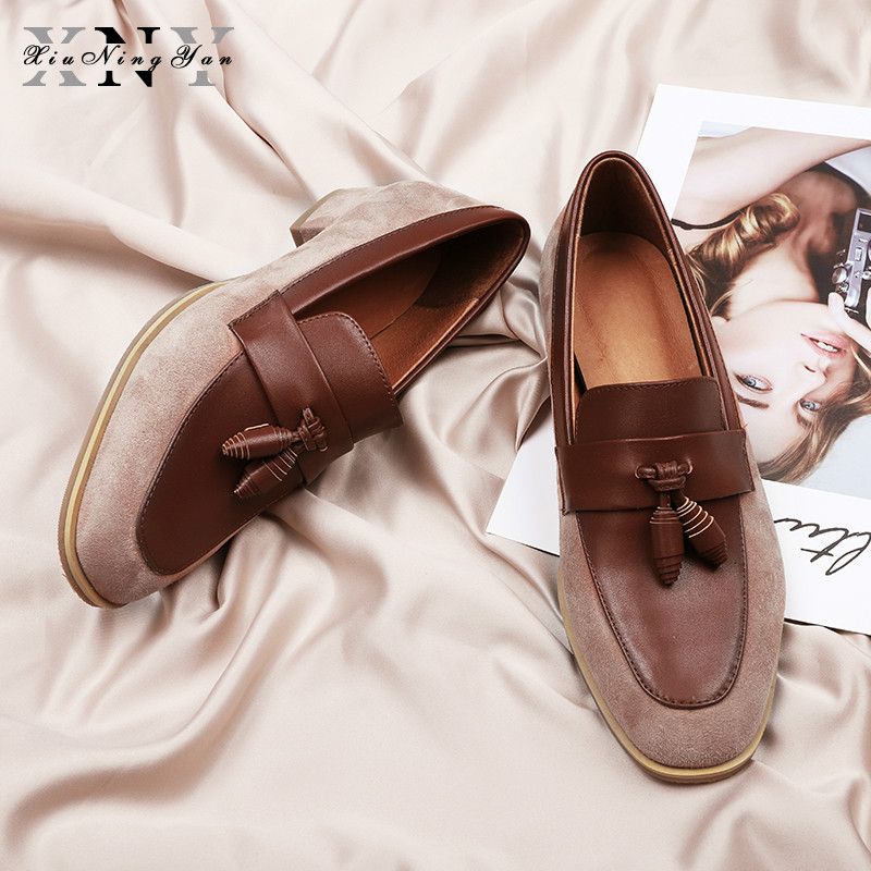 XIUNINGYAN Women Loafers Full Genuine Leather With Bow Flats Platform Women Casual Shoes High Quality Handmade Shoes Woman 2019