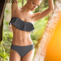BANDEA Sexy Bandeau Bikini Set Women Ruffle Flouce Swimwear Vintage Swimsuit Female Brazilian Bikinis Dot Bathing