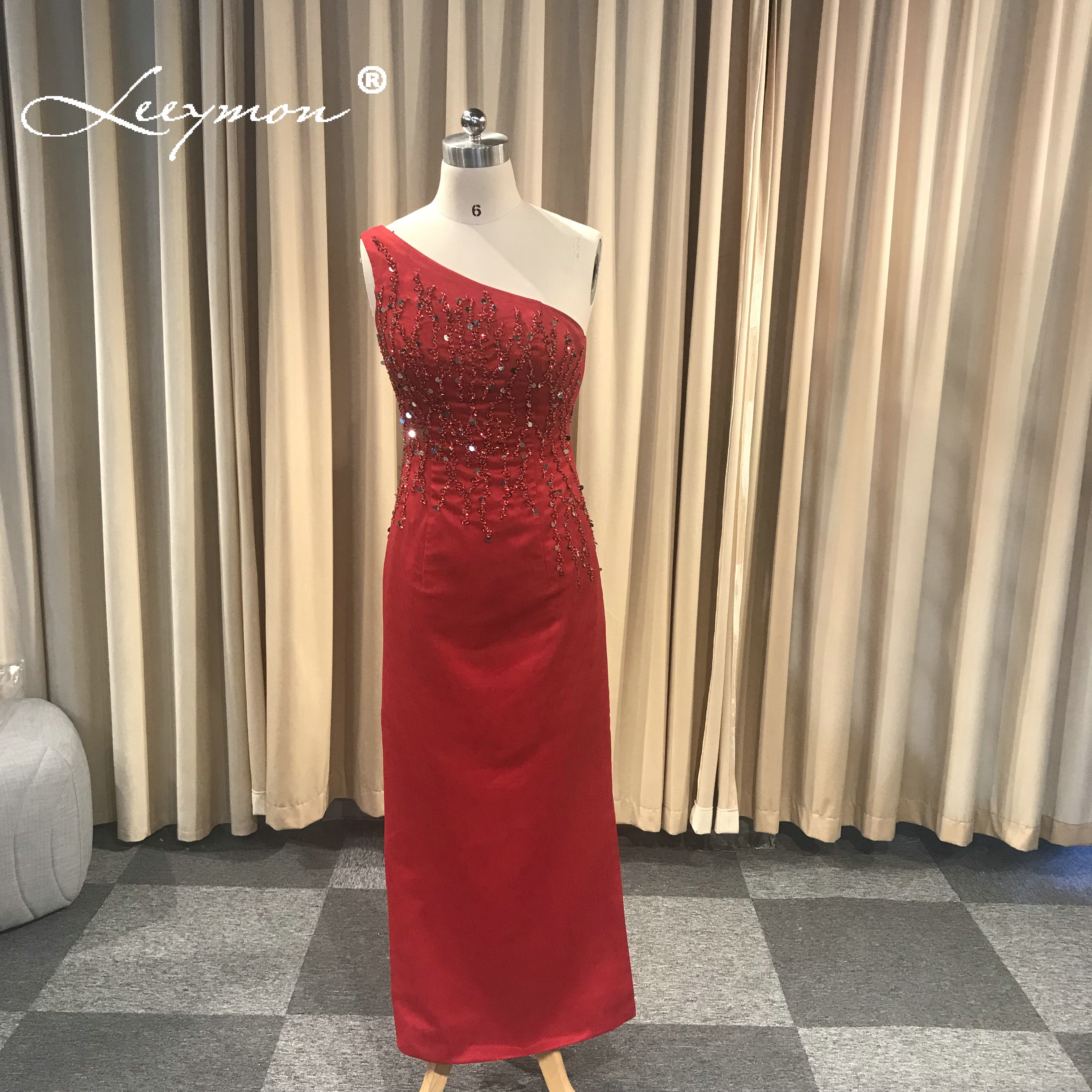 420d16bc5 One Shoulder Red Satin Beading Sequined Evening Dress Evening Gown robe de  soiree longue 2019 Prom