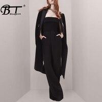 Beateen 2019 Новый женский модный комплект из двух предметов, длинные расклешенные брюки, комбинезон с карманом, пальто с черным поясом