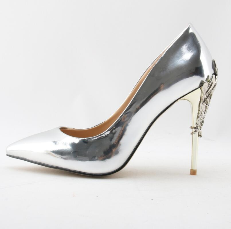 Stylish Metal Decorations Woman High Heel Pumps Sexy Pointed Toe Slip On Shoes Suitable Unique Spring Autumn Party Dress Shoes womens shoes high heel woman pumps spring autumn basic silk slip on pointed toe thin heels sexy wedding shoes ljx04 q