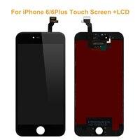 Dla iphone 6/6 plus nowy czarny biały wyświetlacz lcd + ekran dotykowy szklany panel dotykowy czujnik digitizer wymiana zespołu