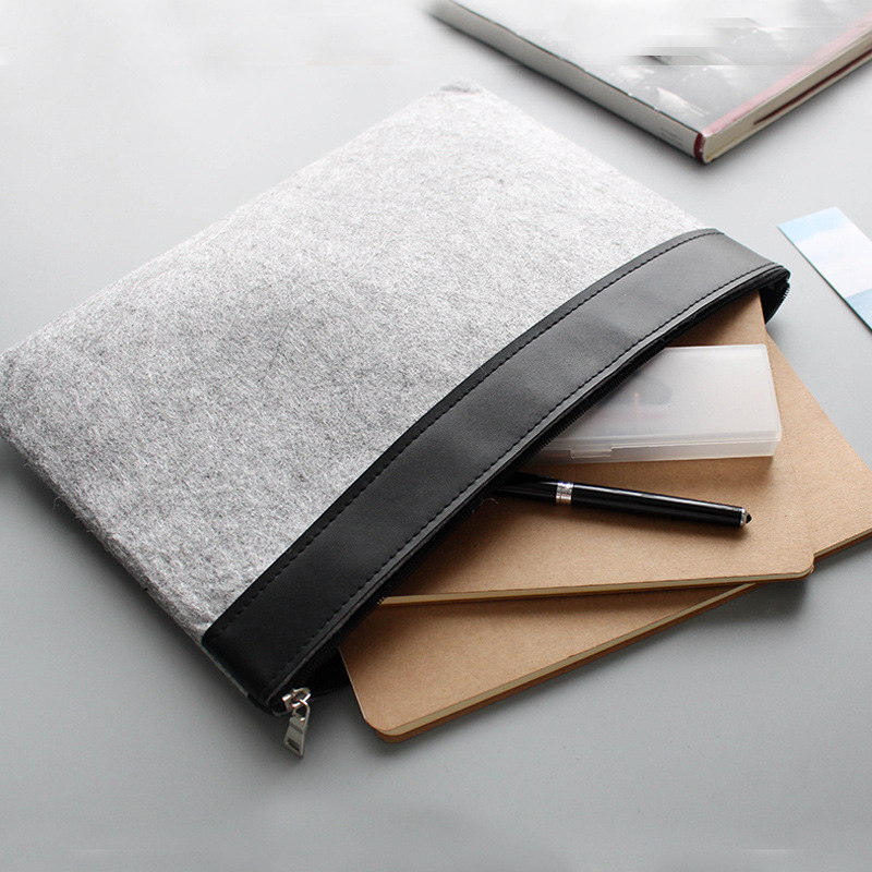 1pc A4 Multifunctional Envelope Potable Data Bag Office Stationary Brief Case Zip Folder Bag Penicl Bag File Folder Bag Only