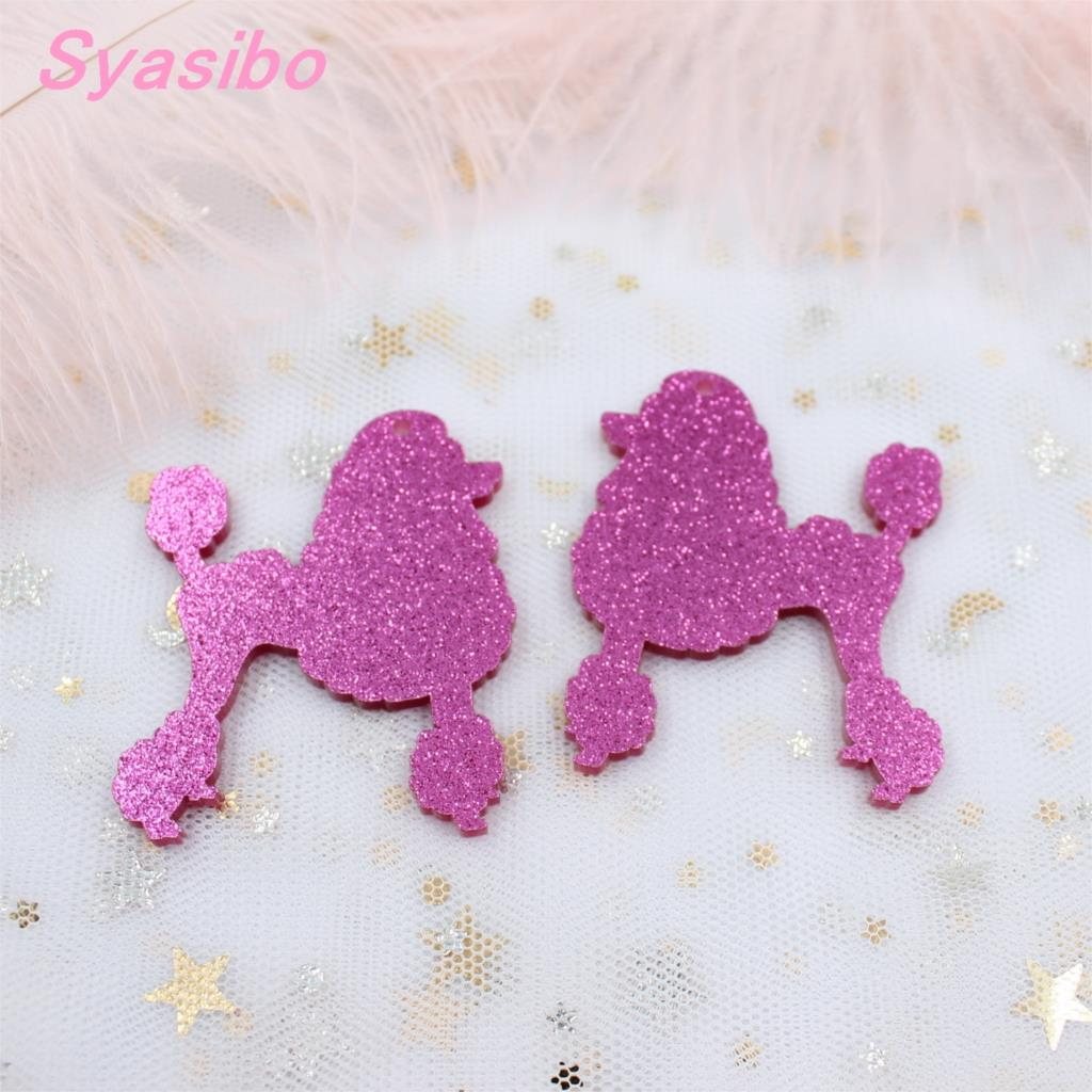 50mm Acrylic Poodle Earrings White, Black, Pink ,yellow, Mint, Pink Glitter Dog Keychians 2