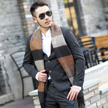 2016 Pashmina tartan Scarves men winter new brand Fashion Plaid Scarf for Men Design cozy warm long scarf cotton brown Tassel