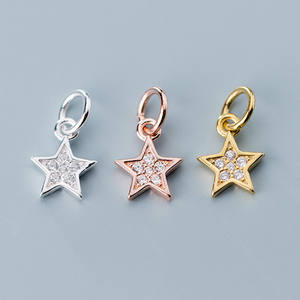 Star Charms Pendants Zircon Jewelry-Making 925-Sterling-Silver Dangle Gold/rose-Gold