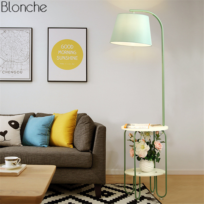 Nordic Iron LED Floor Lamp Fabric Lampshade Standing Lamps Shelf USB Lights for Living Room Bedroom Bedside Home Lighting Decor modern wood table floor lamp living room bedroom study standing lamps fabric decor home lights wooden floor standing lights
