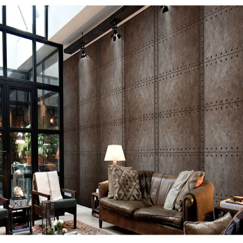 Custom vintage 3D wallpaper industrial metal rust nostalgia large mural garage Bar Cafe Internet cafe KTV 3D wallpaper free shipping custom 3d stereo outer space wallpaper mural ceiling bar cafe restaurant hotel ktv wallpaper