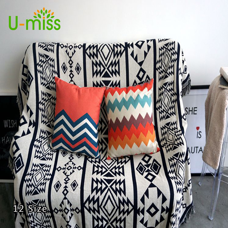U-miss Blanket for Sofa Beds Cotton Knitted Plaid Multi Function Travel Tassel Giant Wool H Blanket