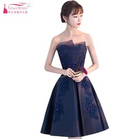 Above Knee Sleeveless A Line Cocktail Dresses Blue Champagne Black Lace Party Gown Sexy Mini Women Dress DQG779