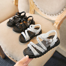 Buckle Children's Shoes Diamond Korean Rhinestone Girls Sandals 2018 Summer New  Girls Shoes