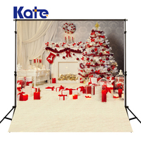 KATE Photography Backdrops Kids Christmas Backdrop White Blanket and Curtain Background Red Gift Box Backdrops Family Backdrop