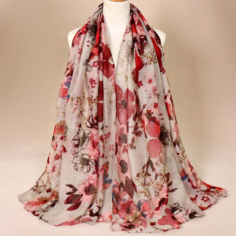 2019 Autumn Winter Fashion Retro Floral Viscose Shawl Scarf Ladies Print Voile Wrap Pashmina Stole Muslim Hijab Caps 180*85Cm